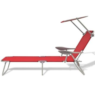 acheter vidaxl chaise longue de jardin avec baldaquin acier rouge 58x189x27 cm pas cher. Black Bedroom Furniture Sets. Home Design Ideas