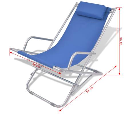 Vidaxl transat inclinable chaise longue jardin plage 2 pcs for Chaises longues pliables