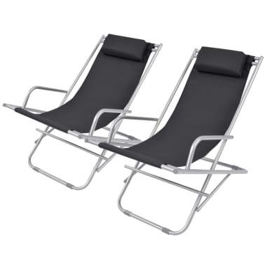 vidaXL Nastavljivi stoli 2 kosa jeklo črni[1/9]