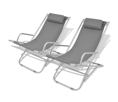 vidaXL atgāžami pludmales krēsli, 2 gab., tērauds, pelēki[1/9]