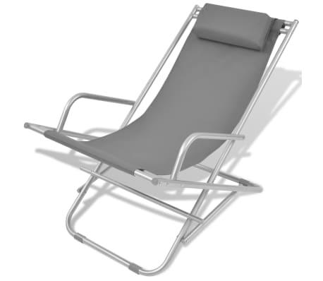 vidaXL atgāžami pludmales krēsli, 2 gab., tērauds, pelēki[2/9]