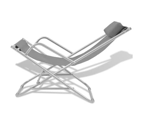 vidaXL atgāžami pludmales krēsli, 2 gab., tērauds, pelēki[3/9]