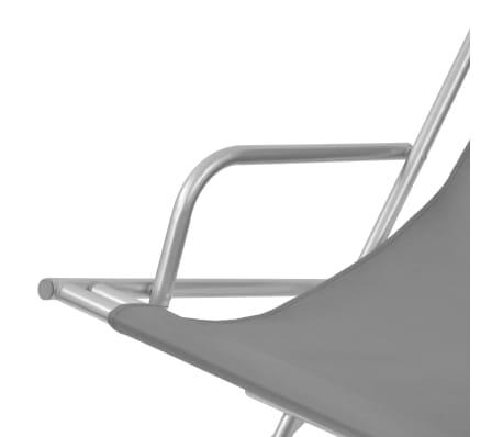 vidaXL atgāžami pludmales krēsli, 2 gab., tērauds, pelēki[5/9]