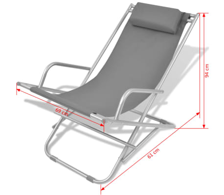 vidaXL Tumbonas reclinables 2 unidades acero gris[9/9]