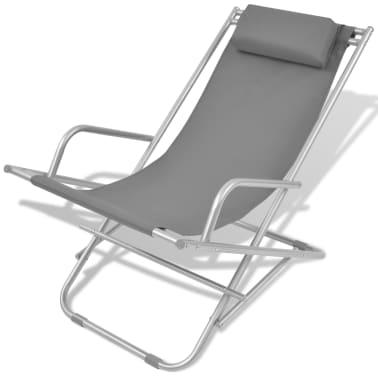 vidaXL Tumbonas reclinables 2 unidades acero gris[2/9]