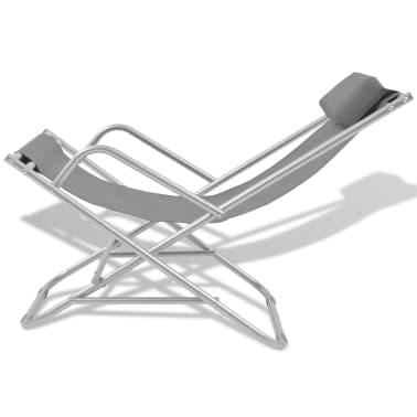 vidaXL Tumbonas reclinables 2 unidades acero gris[3/9]