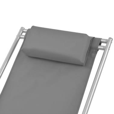 vidaXL Tumbonas reclinables 2 unidades acero gris[4/9]