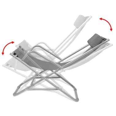 vidaXL atgāžami pludmales krēsli, 2 gab., tērauds, pelēki[7/9]