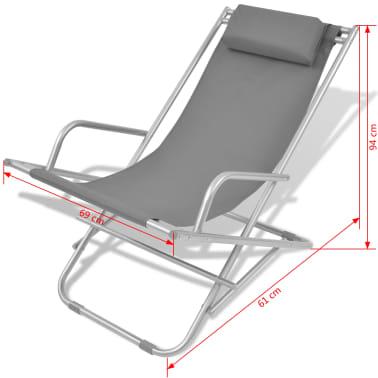 vidaXL atgāžami pludmales krēsli, 2 gab., tērauds, pelēki[9/9]
