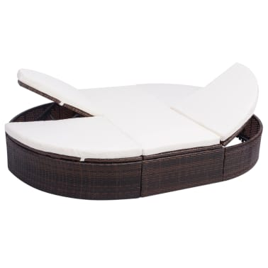 vidaXL dārza atpūtas gulta ar matraci, brūna PE rotangpalma[2/8]