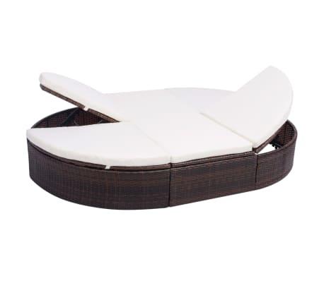 vidaXL dārza atpūtas gulta ar matraci, brūna PE rotangpalma[1/8]