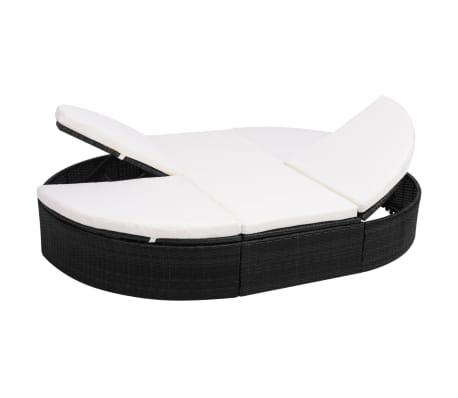 acheter vidaxl chaise longue avec coussin noir 200x140x28 cm r sine tress e pas cher. Black Bedroom Furniture Sets. Home Design Ideas