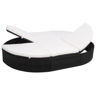 vidaXL dārza atpūtas gulta ar matraci, melna PE rotangpalma[2/8]