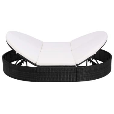 vidaXL dārza atpūtas gulta ar matraci, melna PE rotangpalma[3/8]