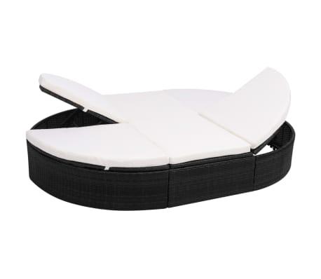 vidaXL dārza atpūtas gulta ar matraci, melna PE rotangpalma[1/8]