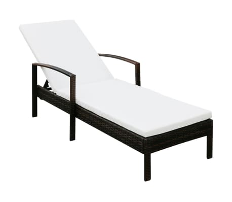 acheter vidaxl chaise longue avec coussin marron r sine tress e pas cher. Black Bedroom Furniture Sets. Home Design Ideas