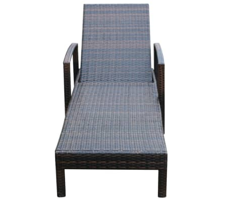 Acheter vidaxl chaise longue avec coussin marron r sine - Chaise longue resine tressee ...