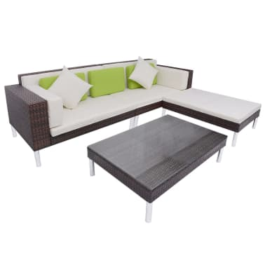 vidaXL 4 Piece Garden Lounge Set with Cushions Poly Rattan Brown[1/10]