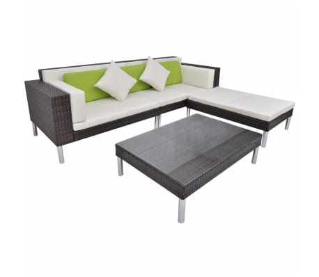 vidaXL 4 Piece Garden Lounge Set with Cushions Poly Rattan Brown[2/10]