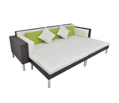 vidaXL 4 Piece Garden Lounge Set with Cushions Poly Rattan Brown[4/10]