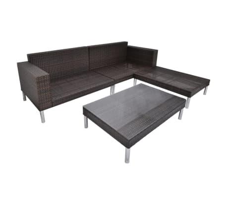 vidaXL 4 Piece Garden Lounge Set with Cushions Poly Rattan Brown[8/10]
