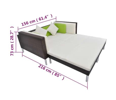vidaXL 4 Piece Garden Lounge Set with Cushions Poly Rattan Brown[10/10]