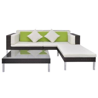 vidaXL 4 Piece Garden Lounge Set with Cushions Poly Rattan Brown[3/10]