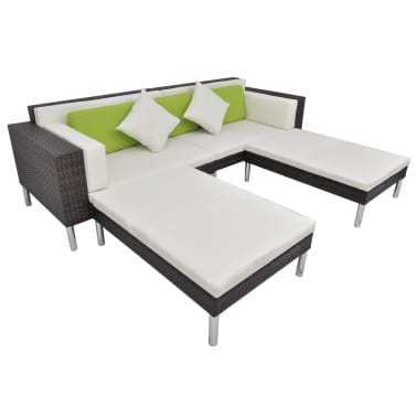 vidaXL 4 Piece Garden Lounge Set with Cushions Poly Rattan Brown[5/10]