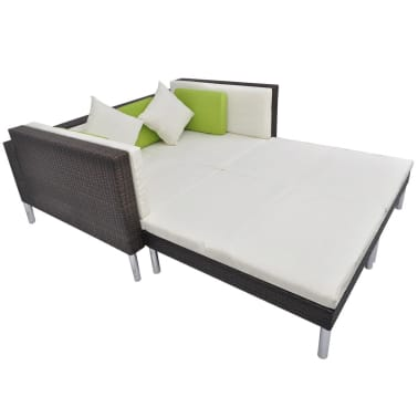 vidaXL 4 Piece Garden Lounge Set with Cushions Poly Rattan Brown[6/10]