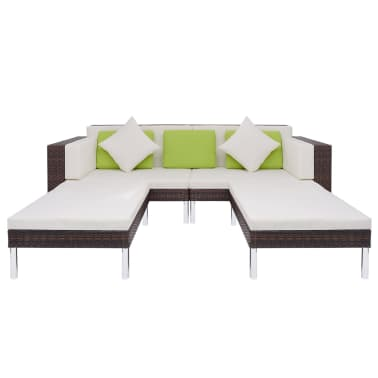 vidaXL 4 Piece Garden Lounge Set with Cushions Poly Rattan Brown[7/10]