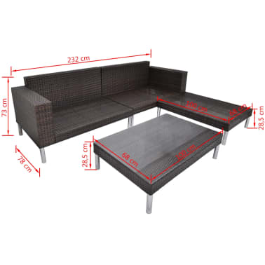 vidaXL 4 Piece Garden Lounge Set with Cushions Poly Rattan Brown[9/10]