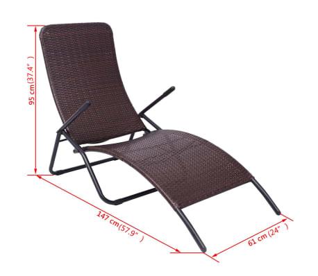 vidaXL Chaise longue pliable Rotin synthétique Marron[6/6]