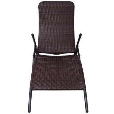 vidaXL Chaise longue pliable Rotin synthétique Marron[2/6]