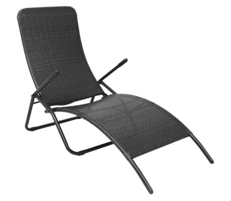 vidaxl sonnenliege klappbar poly rattan schwarz g nstig kaufen. Black Bedroom Furniture Sets. Home Design Ideas