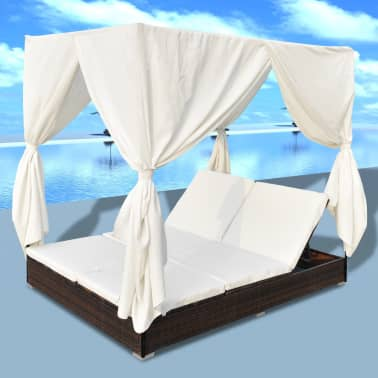 vidaXL Outdoor Lounge Bed with Curtains Poly Rattan Brown[5/11]