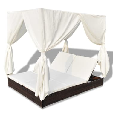 vidaXL Outdoor Lounge Bed with Curtains Poly Rattan Brown[6/11]