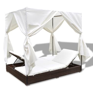 vidaXL Outdoor Lounge Bed with Curtains Poly Rattan Brown[7/11]