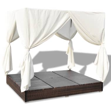 vidaXL Outdoor Lounge Bed with Curtains Poly Rattan Brown[8/11]