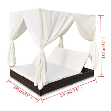 vidaXL Outdoor Lounge Bed with Curtains Poly Rattan Brown[11/11]