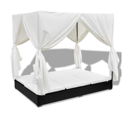 vidaXL Outdoor Lounge Bed with Curtains Poly Rattan Black[2/11]