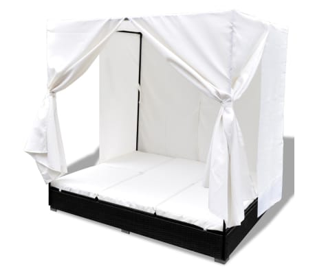 vidaXL Outdoor Lounge Bed with Curtains Poly Rattan Black[5/11]