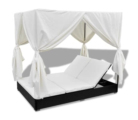 vidaXL Outdoor Lounge Bed with Curtains Poly Rattan Black[6/11]