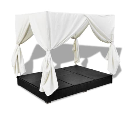 vidaXL Outdoor Lounge Bed with Curtains Poly Rattan Black[8/11]