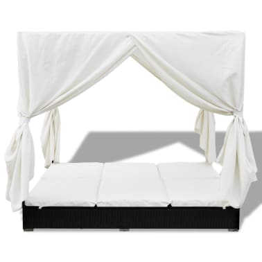 vidaXL Outdoor Lounge Bed with Curtains Poly Rattan Black[3/11]