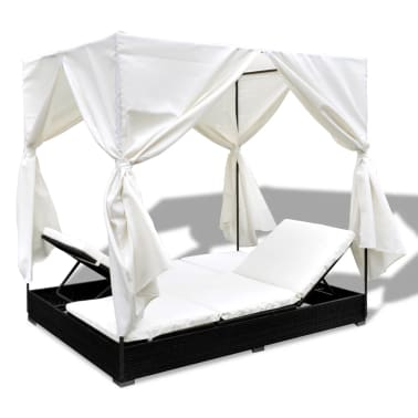 vidaXL Outdoor Lounge Bed with Curtains Poly Rattan Black[7/11]
