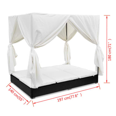 vidaXL Outdoor Lounge Bed with Curtains Poly Rattan Black[11/11]