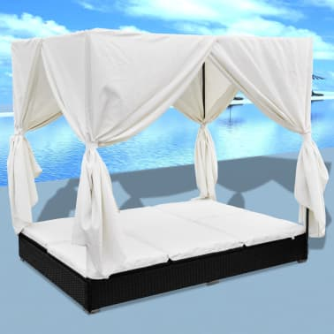 vidaXL Outdoor Lounge Bed with Curtains Poly Rattan Black[1/11]