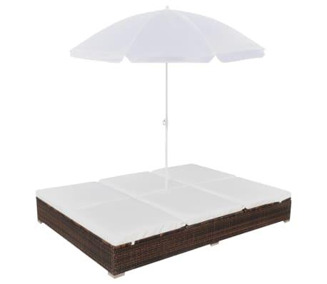 vidaXL dārza atpūtas gulta ar saulessargu, brūna PE rotangpalma