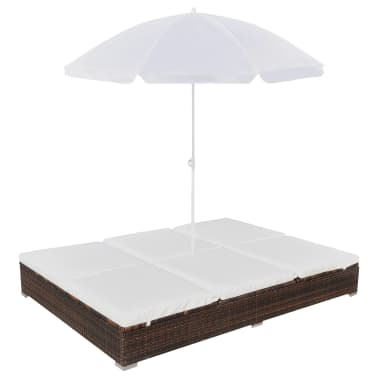 vidaXL Outdoor Lounge Bed with Umbrella Poly Rattan Brown[2/10]