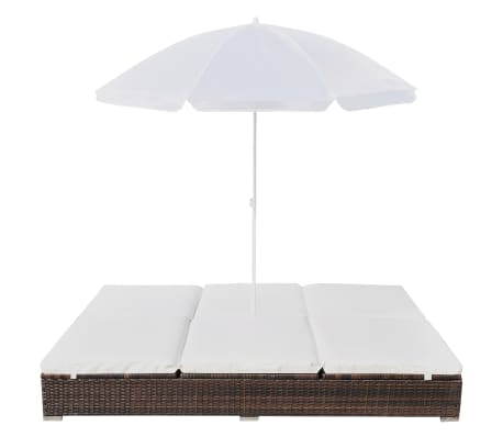 vidaXL Outdoor Lounge Bed with Umbrella Poly Rattan Brown[3/10]